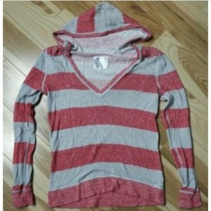 Justice Kids Pink & Gray Striped  Hooded Sweater